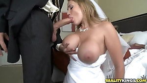 Alanah Rae is a cheating whore who fucks in her wedding dress!