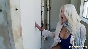 Hot MILF decides to try a dick from glory hole