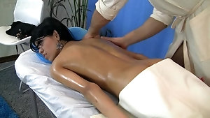 Naughty Brunette Teen Gets Oil Massage And Gets Facial After
