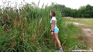 Horny Teen With Big Natural Tits Masturbating In The Grass
